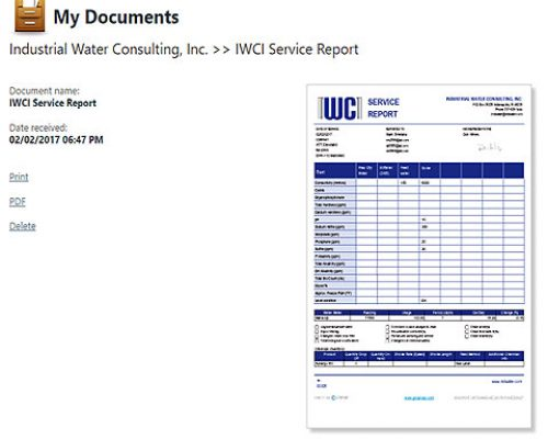 Electronic service reporting after each visit